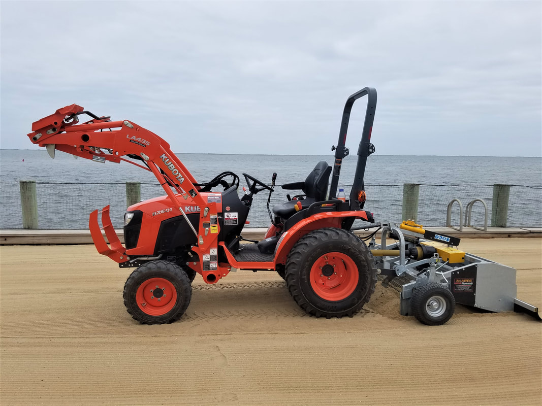 Beach cleaner, Beach cleaning equipment, compact tractor beach cleaner